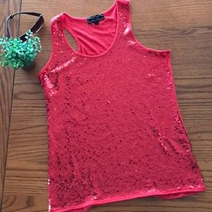 Pink Rose size L red, sequin, tank top